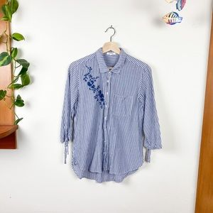Maurices Embroidered Striped  Button Down Tie Top
